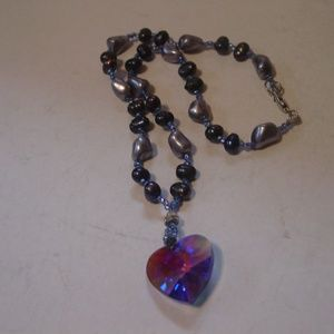 Baroque Pearls and Crystal Heart Necklace